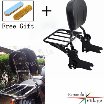 Papanda Black Motorbike Adjustable Rear Passenger Sissy Bar Luggage Rack Backrest Pad for Harley Road Glide FLHT FLHX FLTR
