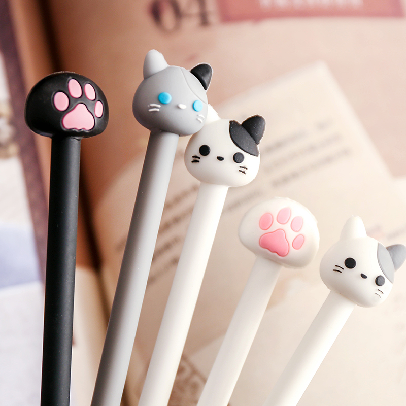 7 pcs/Lot Kawaii cat gel pen Lovely claw black ink pens for writing Stationery Office School supplies Canetas escolar F588