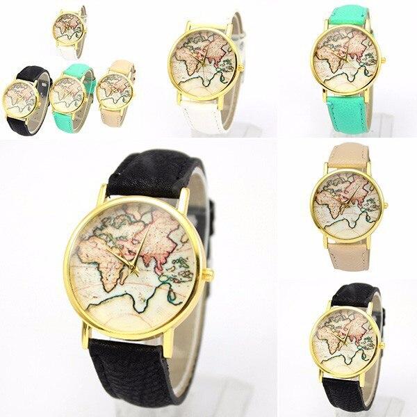 ! נשים ילדה תבנית מפת העולם השעון קוורץ עור מלאכותי אנלוגי שורש כף היד שעונים הסיטוניים