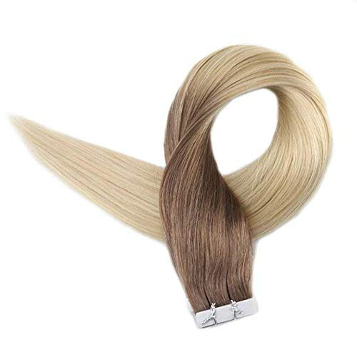 Full Shine  Remy Tape In Hair Ombre Balayage Color #6 Fading To #613 Blonde Real Human Hair Extension 20Pcs 50g Per Package