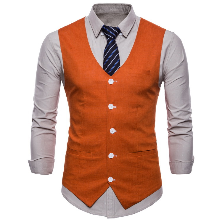British Style Men Orange Vest Candy Colors Casual Slim V-neck Sleeveless Blazer Cute Waistcoat Plus Size 3xl 4xl Men Suit Vest