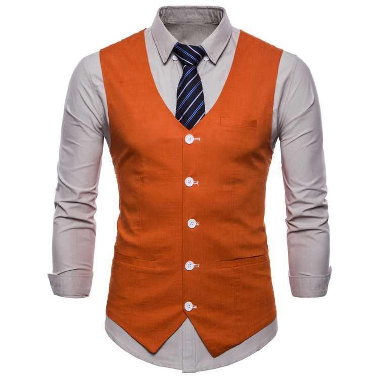 英国スタイル男性オレンジベストキャンディーの色カジュアルスリム V ネックノースリーブブレザーかわいいチョッキプラスサイズ 3xl 4xl 男性スーツベスト
