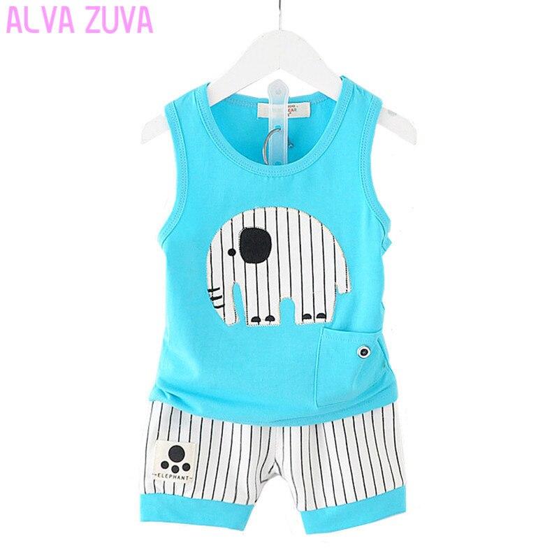 Альва ZUVA Летние Детские комплекты одежды для маленьких мальчиков С Рисунком Слона жилет + шорты костюм детская одежда Cyf059