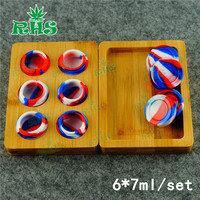 6*7 ml Bamboe Lade Opslag jar Groothandel Goede prijs Voor Siliconen bho olie dab wax container Jar 10 sets gratis verzending