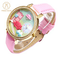 New 3D Quartz Watches Women Girls Handmade Clay Mini World Watches Diamond Pink Leather Kids Children Wristwatch Miss Keke 1013