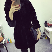 HSC001 The New Winter Jacket Cotton Long Slim Girls Korean Thickened Mink Imitation Fur Coat Wear