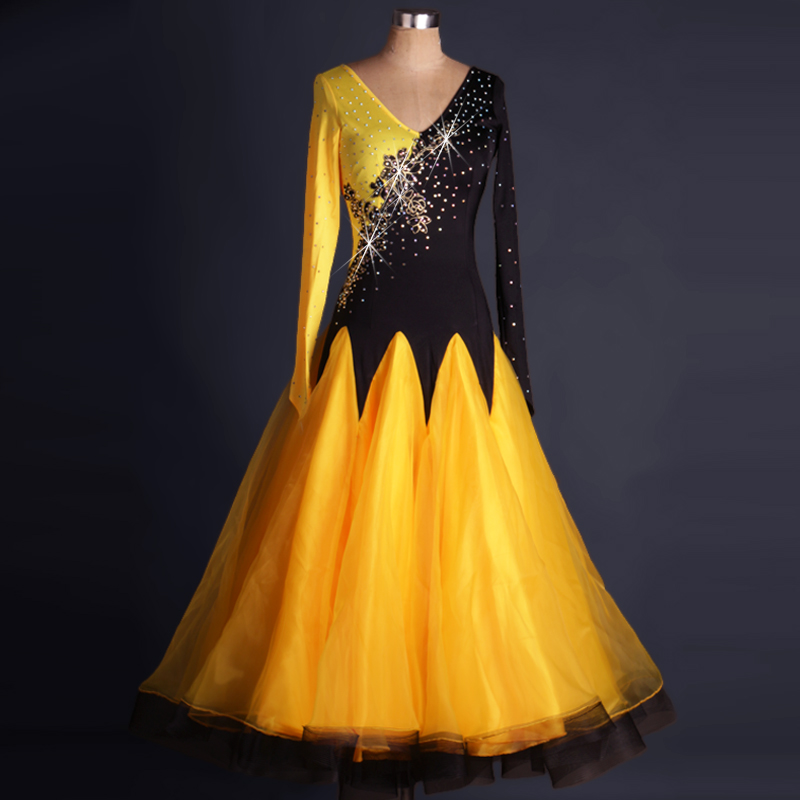waltz Tango standard flamenco womens ballroom dance dresses long sleeve ballroom competition customized skirts yellow black