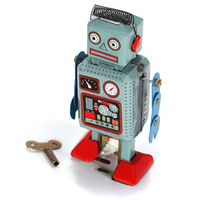 Freeshipping Classic Wind Up Tin Toy Clockwork Spring Robot Toy With Key For Boys Gift