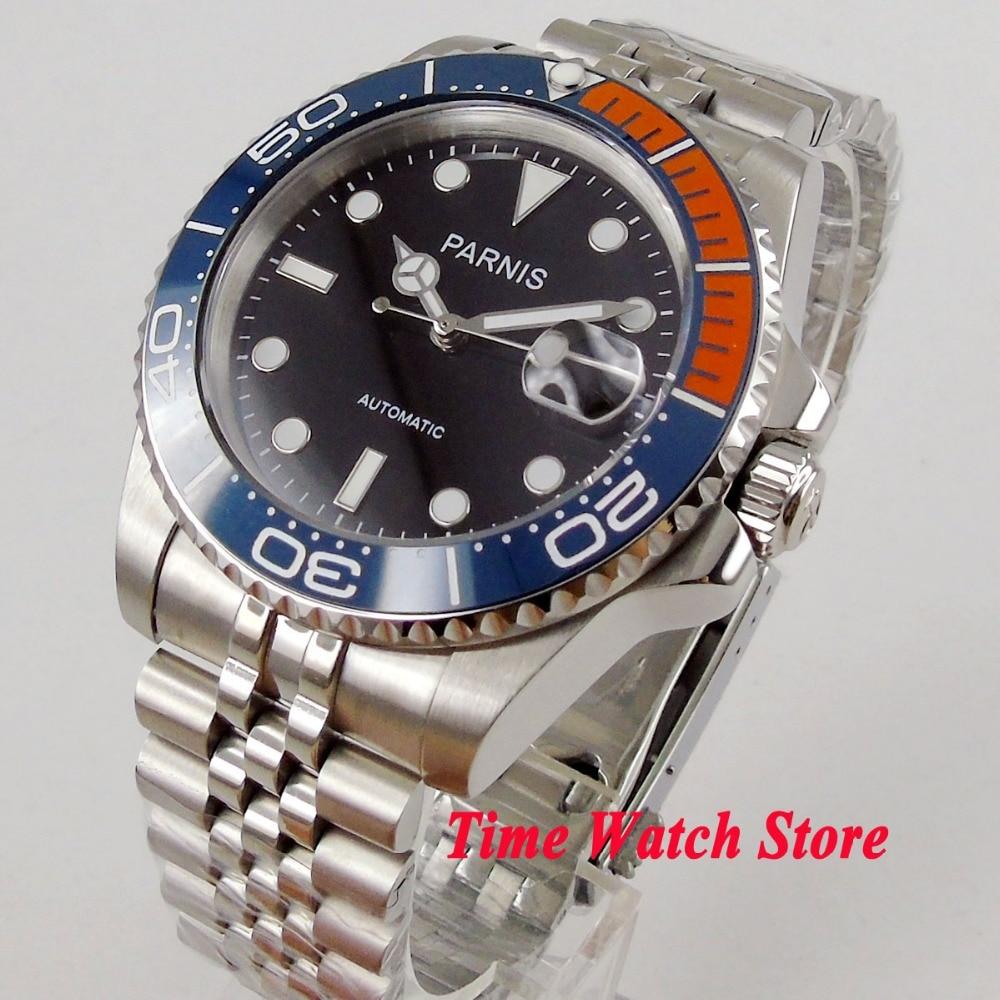 лучшая цена 40mm SUB PARNIS men's watch black dial luminous sapphire glass ceramic bezel MIYOTA 8215 automatic wrist watch men 1068