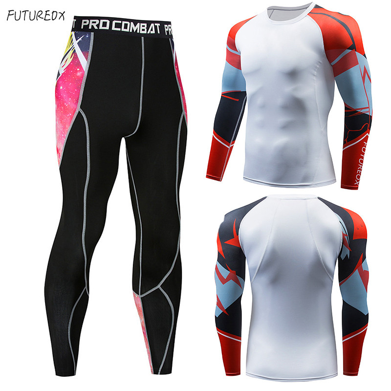 Compressed Men's T-shirt + Tights FUTUREOX Kit Long-sleeved Shirt MMA Fitness Sportswear Thermal Underwear Bottoming Shirt Suit
