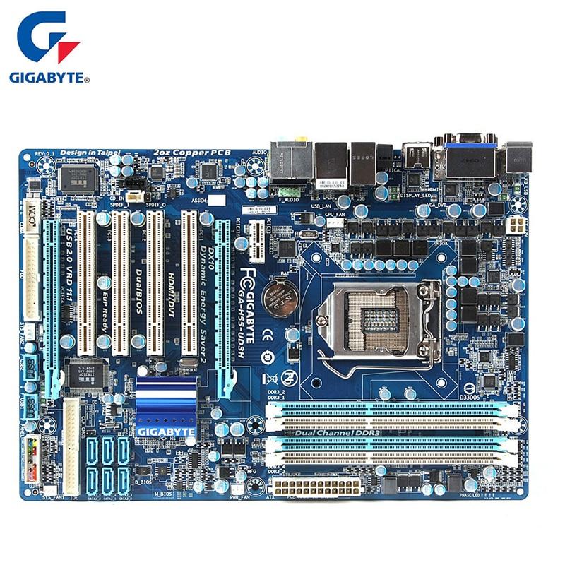 Gigabyte GA-H55-UD3H Motherboard For Intel H55 DDR3 SATA II USB2.0 16B LGA 1156 H55 UD3H Desktop Mainboard Systemboard Used asus p5g41t m lx3 plus motherboard lga 775 ddr3 8gb for intel g41 p5g41t m lx3 plus desktop mainboard systemboard sata ii used