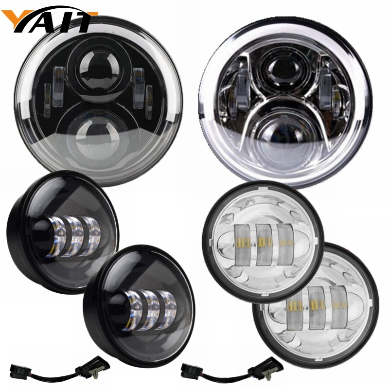 7 inch LED Headlight Daymaker with White/Amber DRL+ 2* 4.5 inch LED Auxiliry Fog Lights + Adapter Mount Ring for Harely Davidson harley davidson headlight price