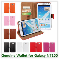 11 Colors Genuine Leather Wallet Pouch Cover Case For Samsung Galaxy Note 2 N7100 Slot Stand