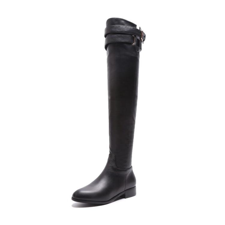 MLJUESE 2019 النساء فوق الركبة الأحذية جلد البقر مشبك حزام الشتاء أسود اللون قصيرة أفخم عالية أحذية النساء الأحذية حجم 34 42-في أحذية فوق الركبة من أحذية على  مجموعة 3