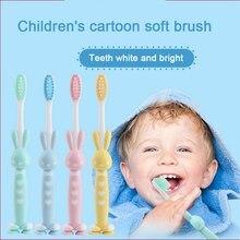 2pcs Rabbit rabbit cartoon soft toothbrush baby vertical deciduous teeth training