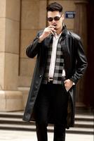 Стенд воротник 2018 осень тонкие длинные кожаные пальто мужская повседневная Однобортная куртка Мужские кожаные тренчи черные модные M 3XL
