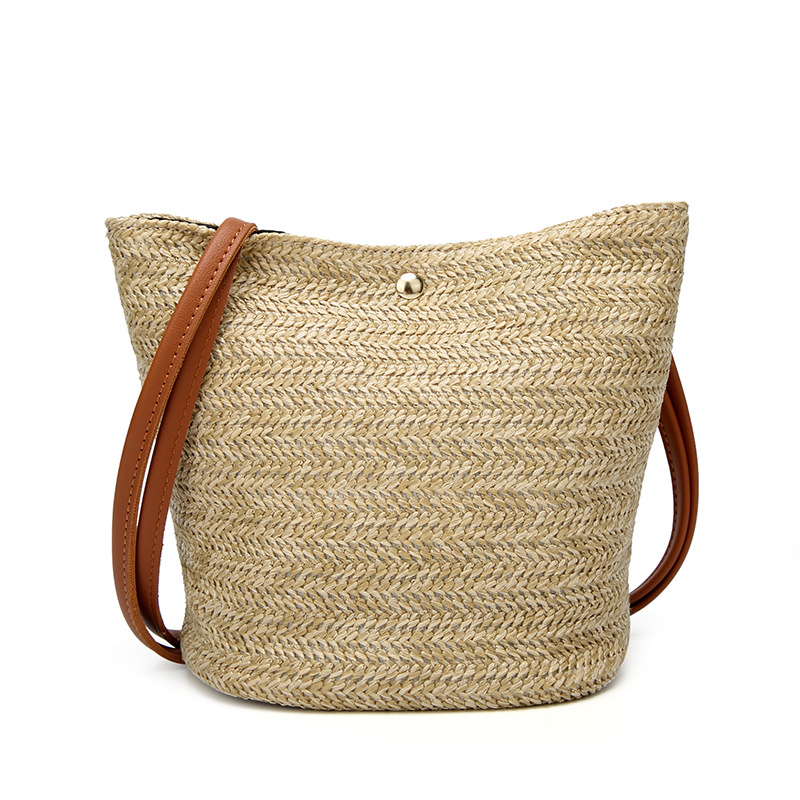 Women Handbag Beach Bag Rattan Woven Handmade Knitted Straw Large Capacity Totes Leather Shoulder Bohemia bags
