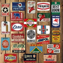 [ DecorMan ] TEXACO ESSO  MOBIL Tin Signs Custom wholesale Metal Paintings Bar PUB Decor LT-1718