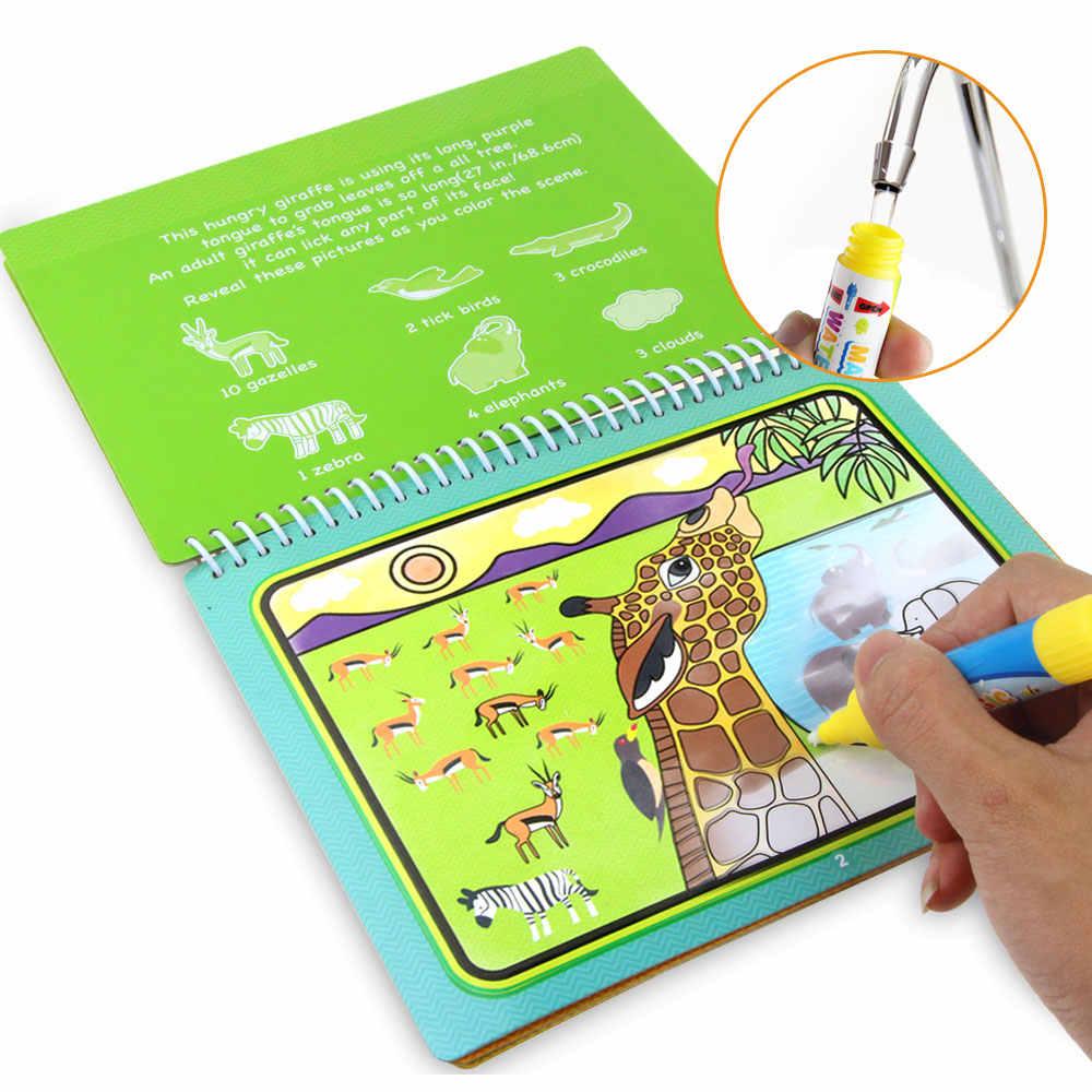8 Gaya Sihir Air Menggambar Buku Mewarnai Doodle & Magic Pena Gambar Mainan Pendidikan Awal untuk Anak-anak Hadiah Ulang Tahun