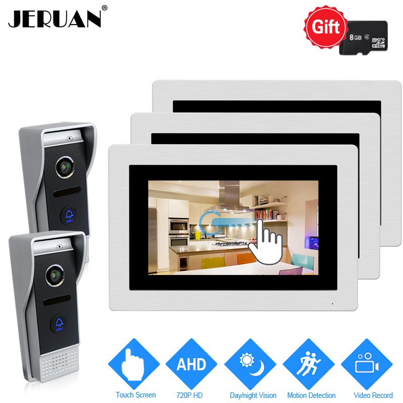 JERUAN 720P AHD Motion Detection 7`` Touch Screen Video Intercom Doorbell System 3 Record Monitor +2 HD 110 degree 1.0MP Camera