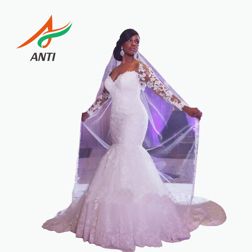 ANTI Romantic 2019 African Sexy Lace Mermaid Wedding Dress Long Illusion Sleeve V-Neck Bridal Gowns Vestido De Novia For Woman