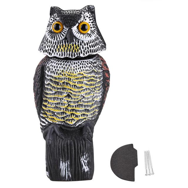 Realistic Bird Scarer Rotating Head Owl Decoy Protection Repellent Bird Pest  Control Scarecrow Garden Yard Decor