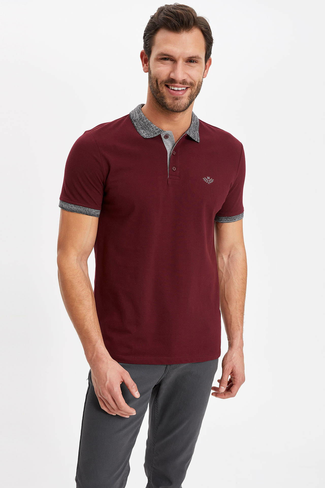DeFacto Men Summer   Polo   Shirt Wine Red Turn-down Collar Knitted   Polo   Smart Casual-energy K1139AZ19SMBR34