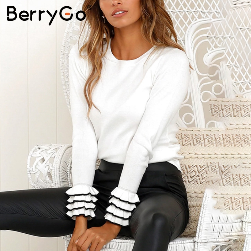 Berrygo Elegant Ruffles Knitted Winter Sweater Pull Femme Women Casual  Pullover Autumn Ladies Sweaters Slim Female Jumpers