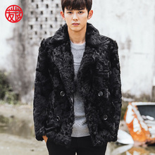 CR094 men's genuine real sheep fur coat coats winter warm real wool one fur jacket /jackets outerwear