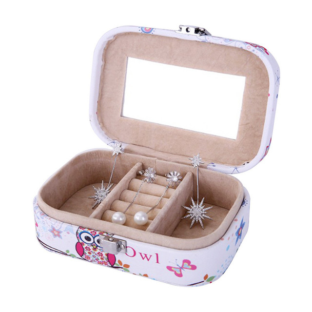 Womens Mini Jewelry Box Travel Makeup Organizer Faux Leather Casket