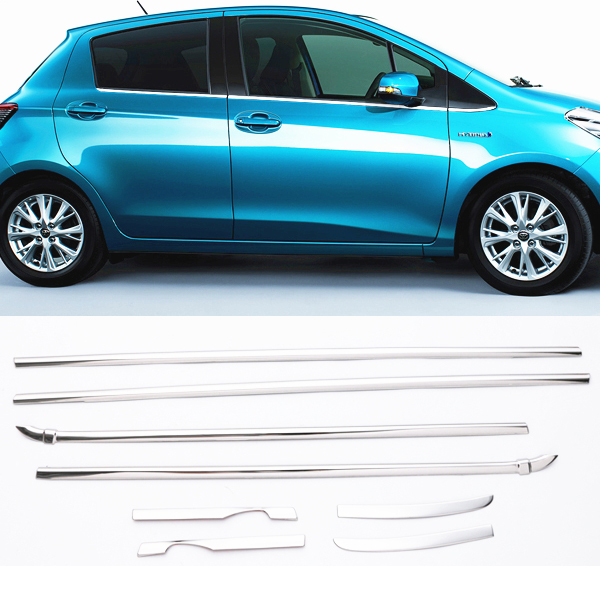 JY 8pcs SUS304 Stainless Steel Window Trim Upper Car Styling Cover Accessories For Toyota Vitz Yaris