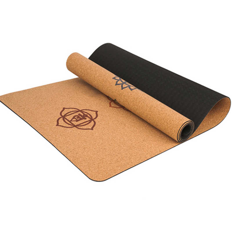 183x68x5mm Natural Cork TPE Yoga Mat Non-slip Pilates Pads With Position Line Also For Gym Fitness Training High End Yoga Mat