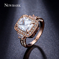 NEWBARK Queen Rings Big 3 carat CZ Zirconia Cut Square 4 Prong Engagement Ring Jewelry For Women Bague Anelli