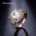 Newbark rainha anéis grandes anéis de 3 quilates cz zircônia corte quadrado 4 prong anel de noivado jóias para mulheres bague anelli