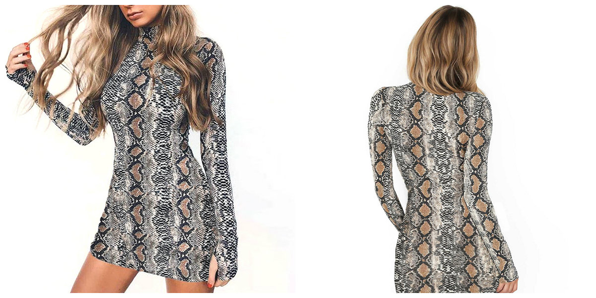 Women Autumn Mini Snake Skin Long Sleeve Dress Women Sexy Snakeskin Bodycon High Neck Party Dresses