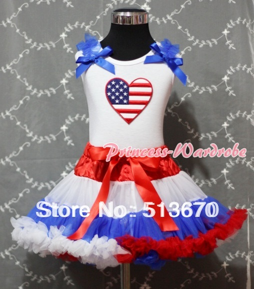 Red White Blue Pettiskirt with Patriotic America Heart Royal Blue Ruffles & Bow White Tank Top MAMM156 manas
