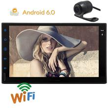 free camera+Car GPS radio Stereo Double 2Din In Dash Android 6.0 GPS Navigation Radio Capacitive Screen WiFi supports 34/4g OBD2