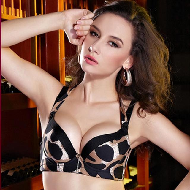 71656d5216b07 Fashion Bra Underwear Women Sexy Leopard Push Up Bra Double Baldric Padded  Up Underwire A B C Cup Bras
