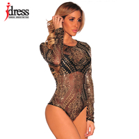 IDress 2017 Sexy Macacao Mesh Rompers Womens Jumpsuit Gold Bronzing Bodysuit Club Party Long Sleeve Combinaison