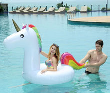 175*120CM Unicorn Swimming Ring Pool Inflatable Toys Unicorn Donut Circle Pool Float For Kids Adult Summer Water Fun Pool Toys(China)