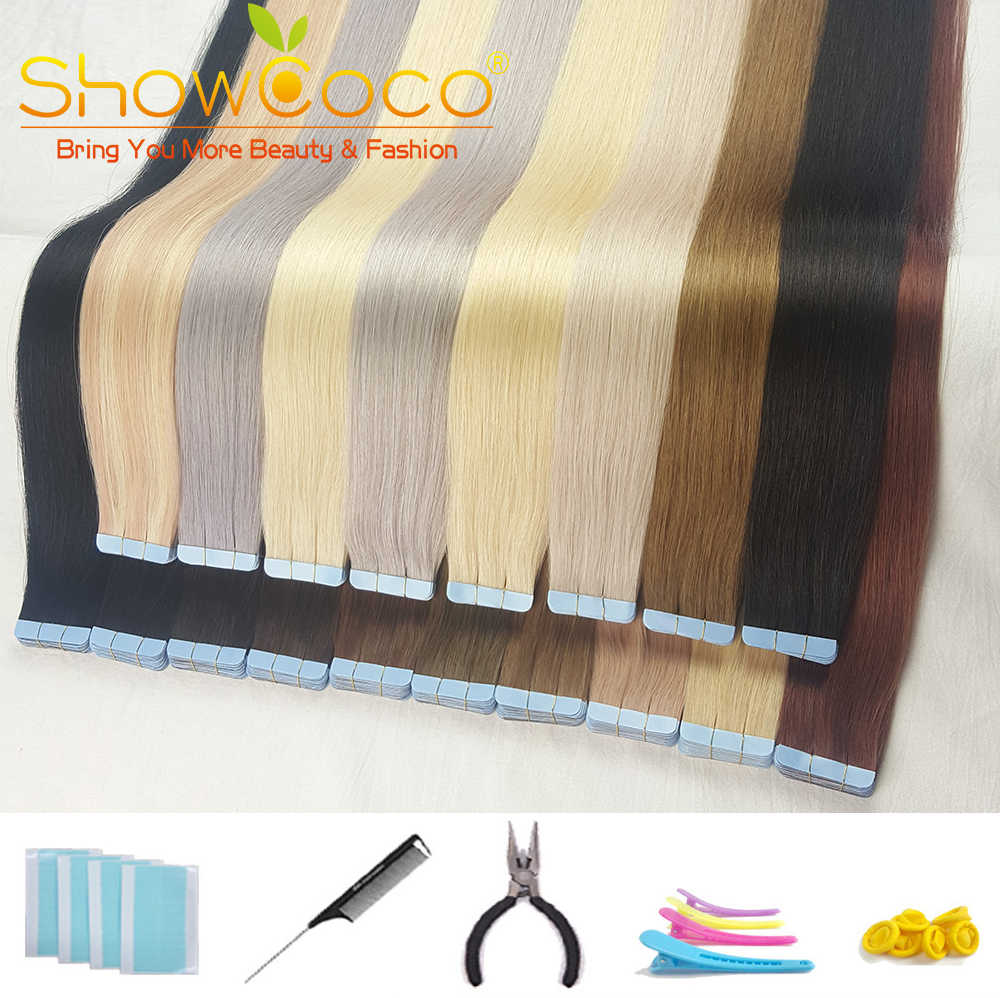 Showcoco Tape in Human Hair Extension Real Straight Machine-made Remy Hair  16-24 Inch Adhensive Extension 20/40pcs