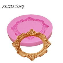 1Pcs Silicone Mold Flower Ring Frame Mirror Fondant Cake Decorating Tools  polymer clay molds D1078