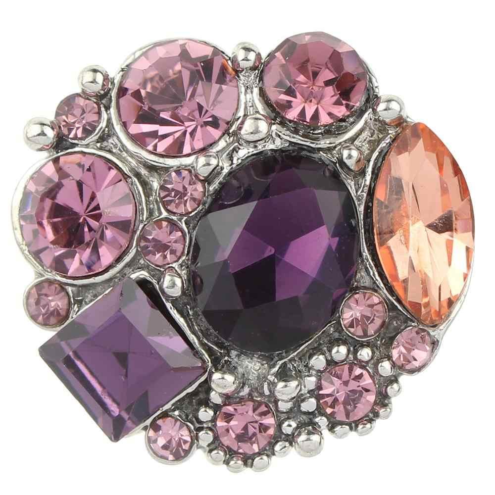 JaynaLee 20mm Cristal púrpura Ginger Snap Charm Fit Snaps joyería intercambiable para Mujeres Hombres regalos GJS8294