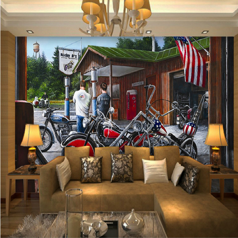 Custom European-style living room sofa backdrop landscape 3Ds