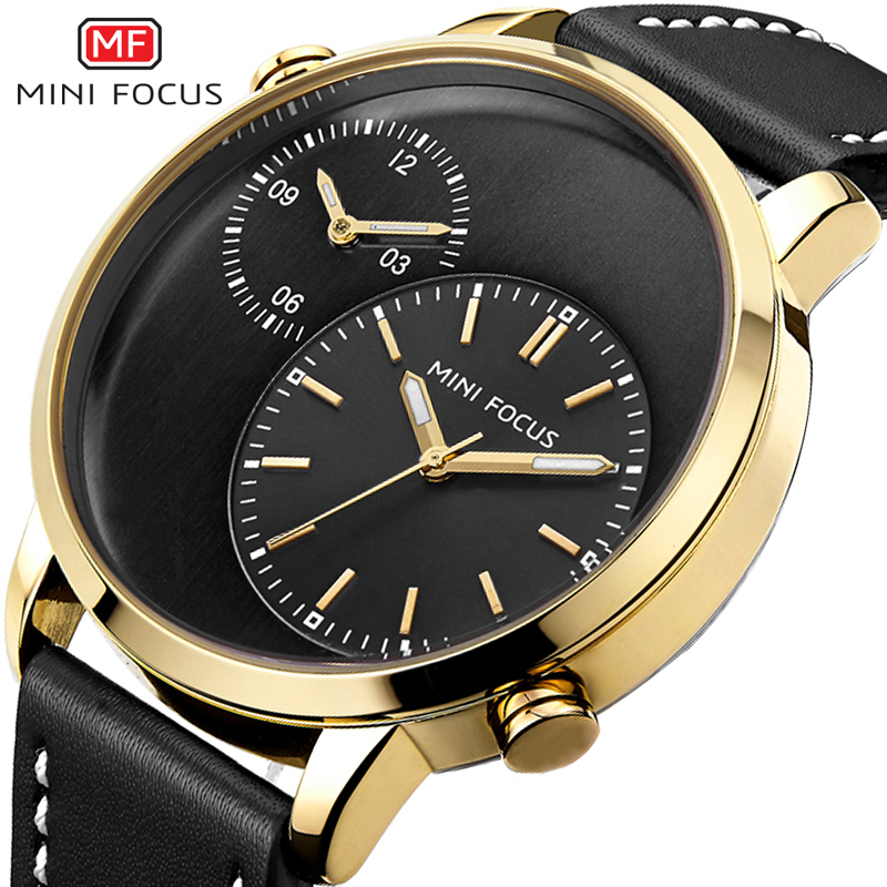 MINI FOCUS Mens Watches Top Brand Luxury Quartz Double Dial Sport Watch Gold Military Fashion Clock Men Horloges Mannen With Box cadisen top new mens watches top brand luxury complete calendar 3atm sport watches for men clock stainless steel horloges mannen