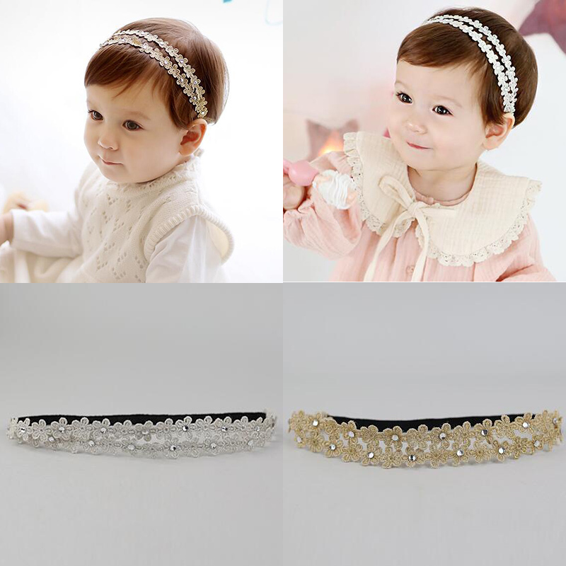 2017 New Fashion Silver Golden Flowers Hairbands Girls Headwear Kids Hair Accessories Children Elastic Hair Band fashion cute children baby toddler girls candy color embroidery flowers elastic ribbon hair band headwear hair accessories