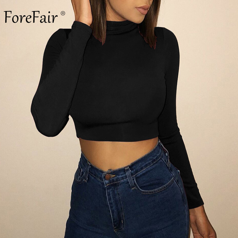 Forefair Long Sleeve Crop <font><b>Top</b></font> Women Shirts <font><b>Harajuku</b></font> Korean Black Burgundy <font><b>Sexy</b></font> Clothes Turtleneck Basic Short T Shirt Femme 2018 image