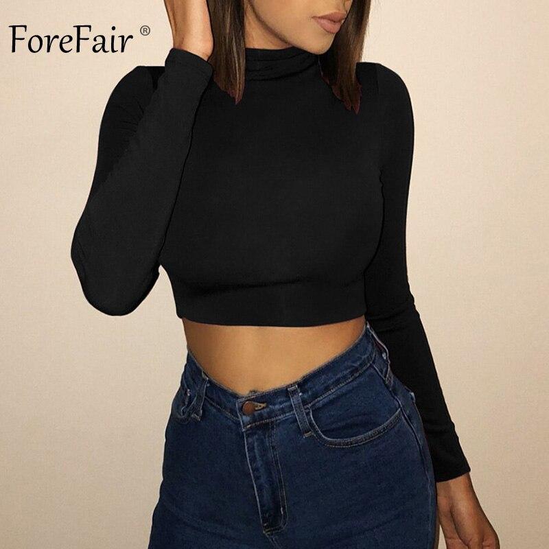 Forefair Long Sleeve Crop Top Women Shirts Harajuku Korean Black Burgundy Sexy Clothes Turtleneck Basic Short T Shirt Femme 2018