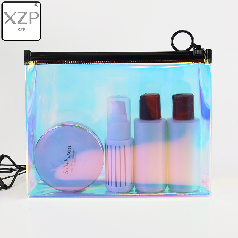 XZP Fashion Laser Solid Cosmetic Bag PVC TPU Functional Make Up Necessaries Women Toiletry Kit Bag Makeup Case Pouch Organizer
