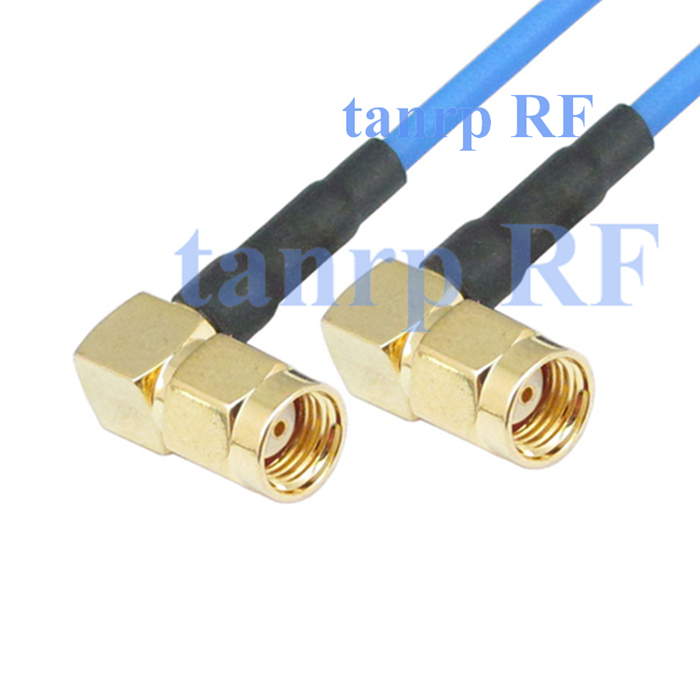 20in RP SMA male to RP SMA male both 2 right angle RF 3G 4G router WIFI 50CM coaxial Flexible blue jumper extension cable RG405